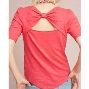 NWOT Meadow Rue Bow Back Tee in Coral